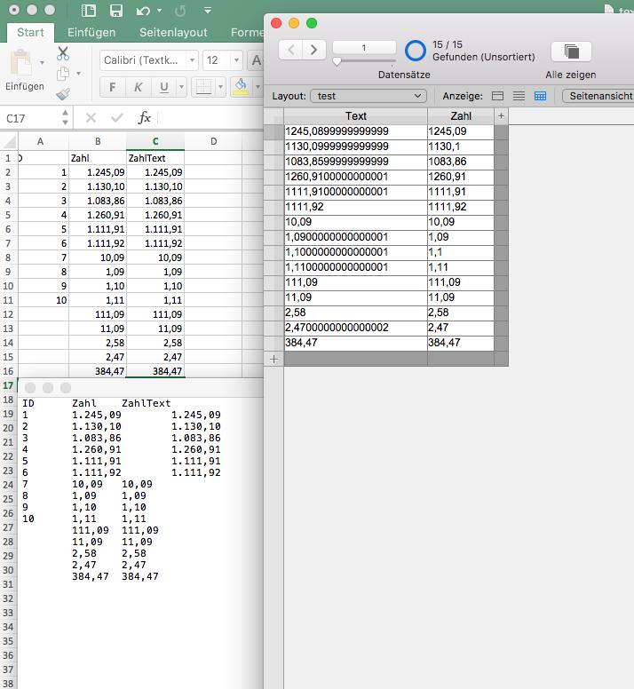 FileMaker Forum-Beitrag : Import Excel -> Probleme Nachkommastellen ...