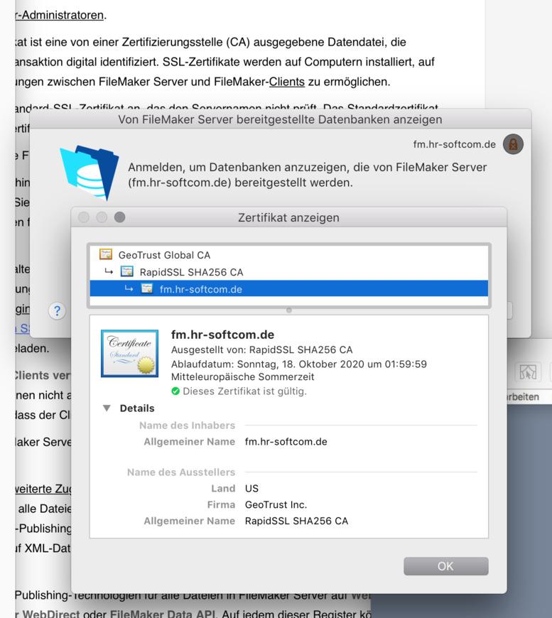 FileMaker Forum-Beitrag : SSL (preiswert) auch unter FM GO ...